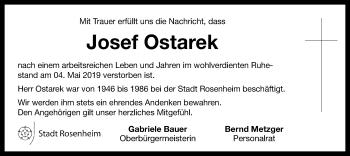Traueranzeige für Josef Ostarek vom 15.05.2019 aus ovb