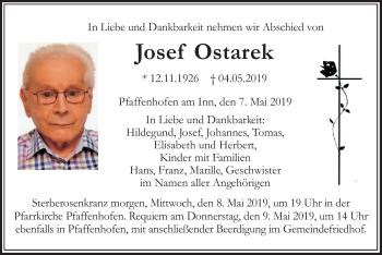 Traueranzeige für Josef Ostarek vom 07.05.2019 aus ovb