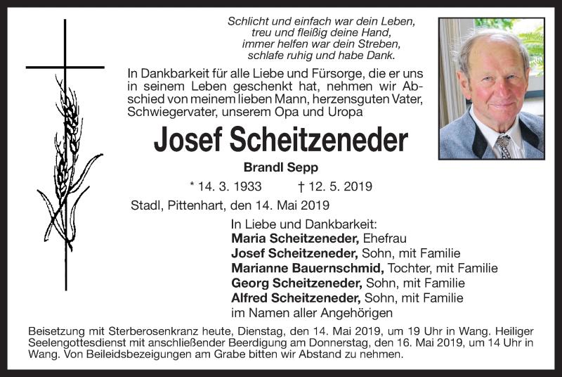 Traueranzeige für Josef Scheitzeneder vom 14.05.2019 aus ovb