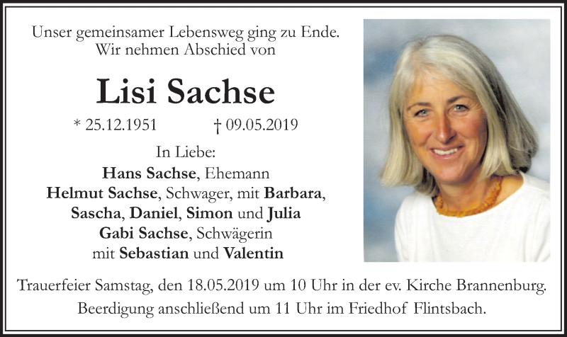 Traueranzeige für Lisi Sachse vom 15.05.2019 aus ovb