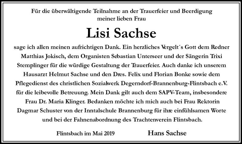 Traueranzeige für Lisi Sachse vom 29.05.2019 aus ovb