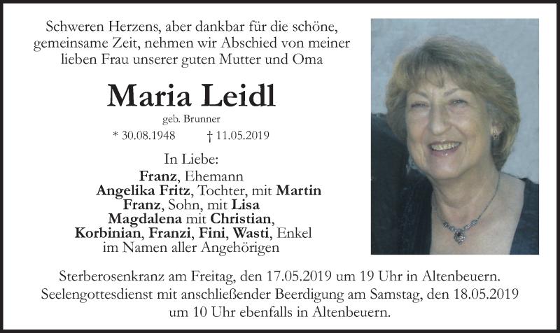 Traueranzeige für Maria Leidl vom 15.05.2019 aus ovb