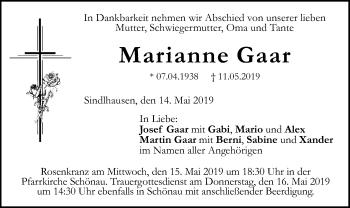 Traueranzeige für Marianne Gaar vom 14.05.2019 aus ovb