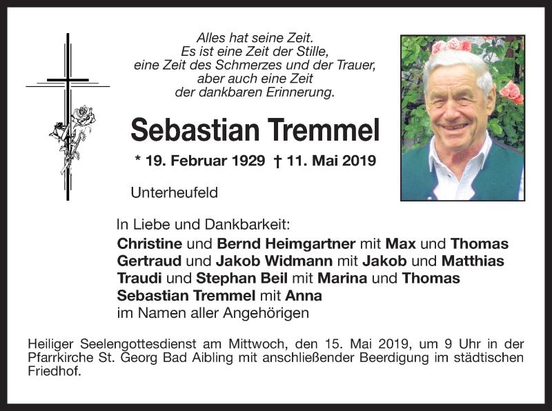 Traueranzeige für Sebastian Tremmel vom 13.05.2019 aus ovb