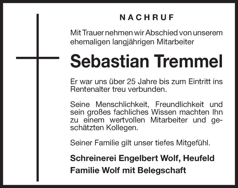 Traueranzeige für Sebastian Tremmel vom 15.05.2019 aus ovb