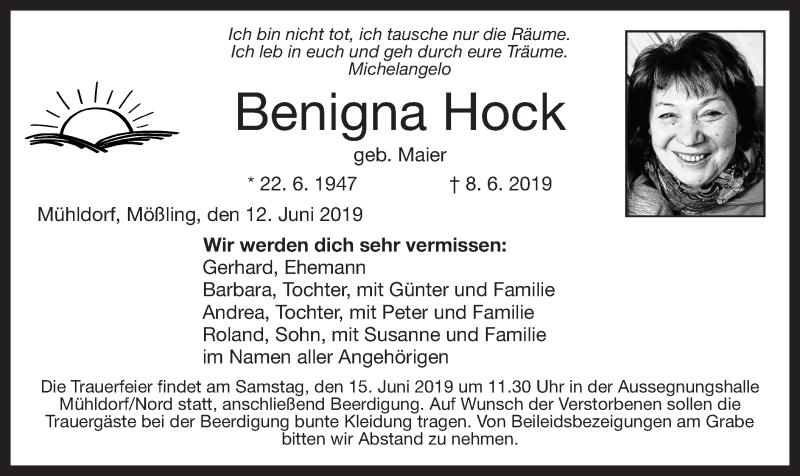 Traueranzeige für Benigna Hock vom 12.06.2019 aus ovb