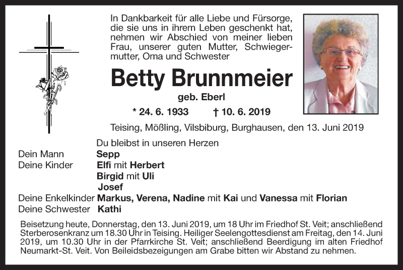 Traueranzeige für Betty Brunnmeier vom 13.06.2019 aus ovb