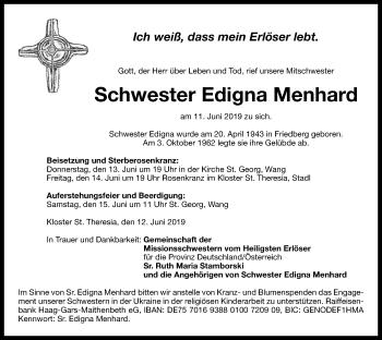 Traueranzeige für Edigna Menhard vom 13.06.2019 aus ovb