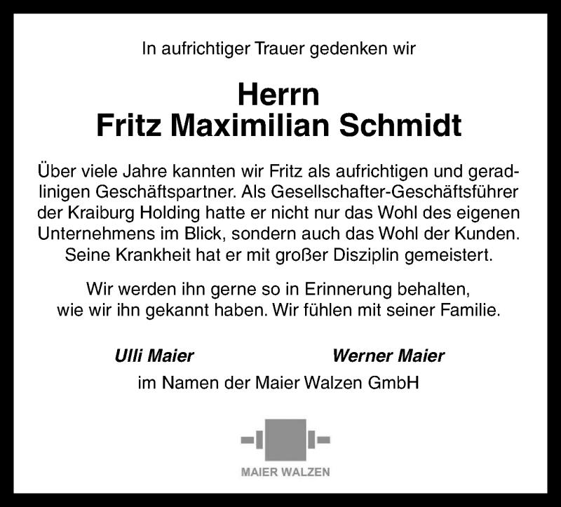 Traueranzeige für Fritz Maximilian Schmidt vom 14.06.2019 aus ovb