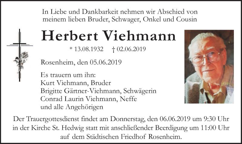 Traueranzeige für Herbert Viehmann vom 05.06.2019 aus ovb