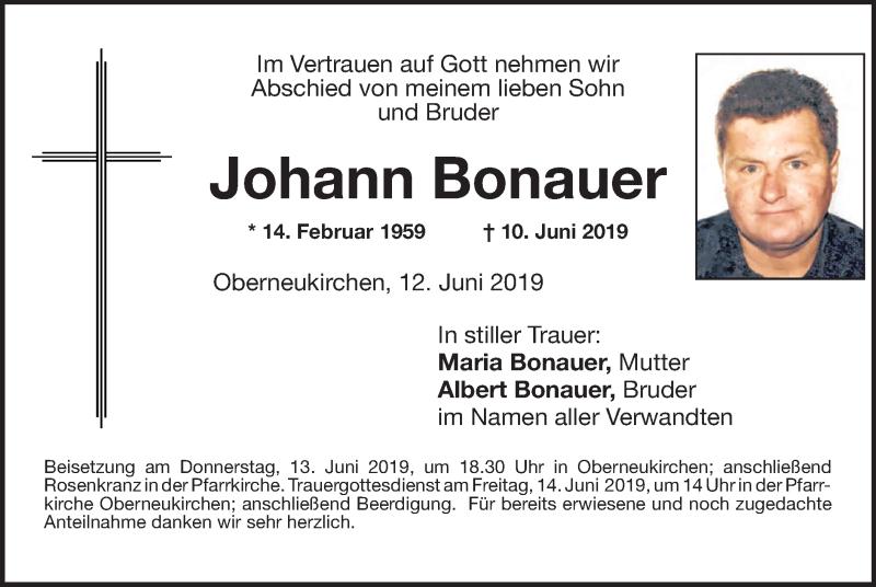 Traueranzeige für Johann Bonauer vom 12.06.2019 aus ovb