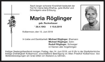 Traueranzeige für Maria Röglinger vom 13.06.2019 aus ovb