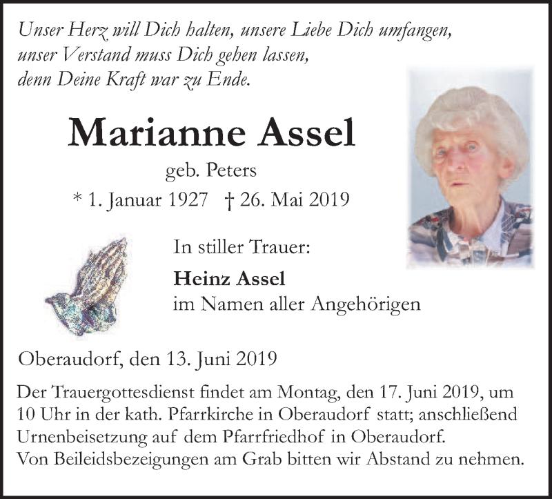 Traueranzeige für Marianne Assel vom 13.06.2019 aus ovb