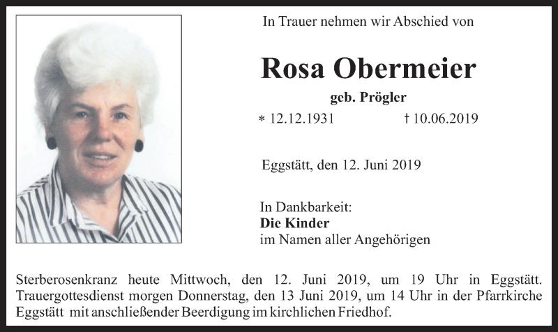 Traueranzeige für Rosa Obermeier vom 12.06.2019 aus ovb