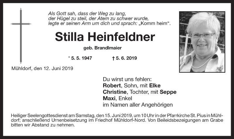 Traueranzeige für Stilla Heinfeldner vom 12.06.2019 aus ovb