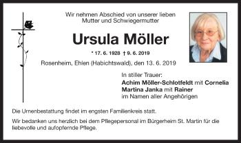 Traueranzeige für Ursula Möller vom 13.06.2019 aus ovb