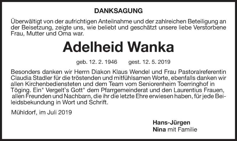 Traueranzeige für Adelheid Wanka vom 03.07.2019 aus ovb