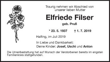 Traueranzeige für Elfriede Filser vom 11.07.2019 aus ovb