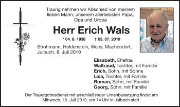 Traueranzeige für Erich Wals vom 09.07.2019 aus ovb