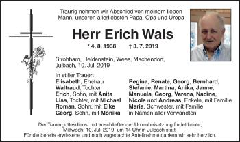Traueranzeige für Erich Wals vom 10.07.2019 aus ovb