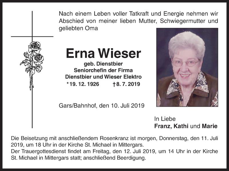 Traueranzeige für Erna Wieser vom 10.07.2019 aus ovb