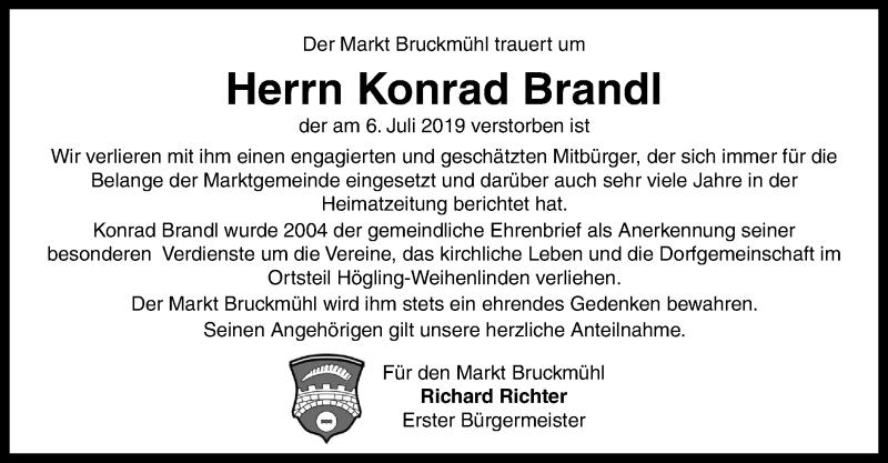 Traueranzeige für Konrad Brandl vom 10.07.2019 aus ovb
