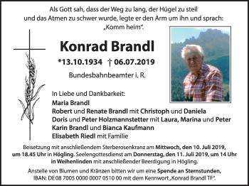 Traueranzeige für Konrad Brandl vom 09.07.2019 aus ovb
