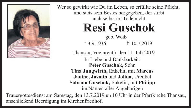 Traueranzeige für Resi Guschok vom 11.07.2019 aus ovb