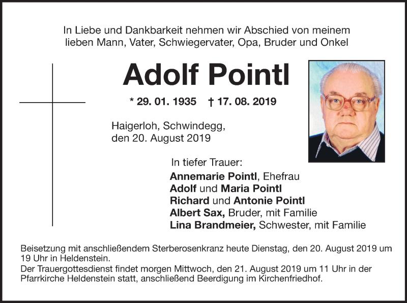 Anzeige von  Adolf Pointl