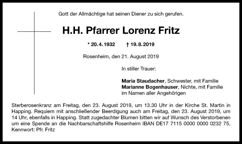 Anzeige von  Lorenz Fritz