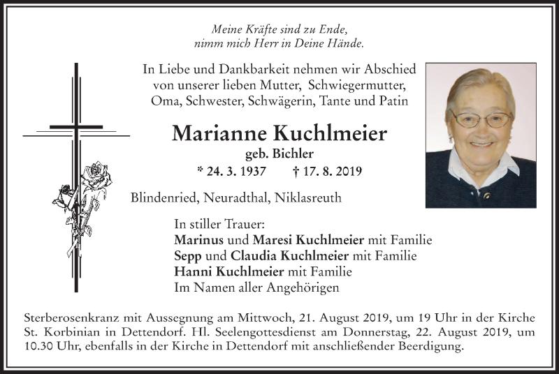 Anzeige von  Marianne Kuchlmeier