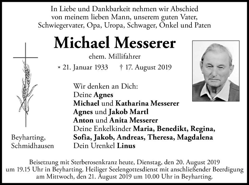 Anzeige von  Michael Messerer