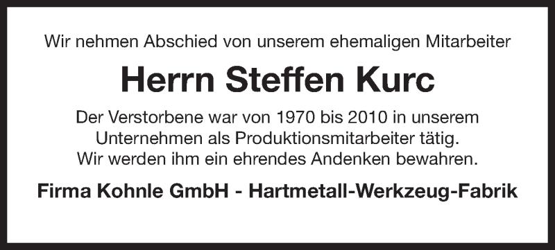 Anzeige von  Steffen Kurc
