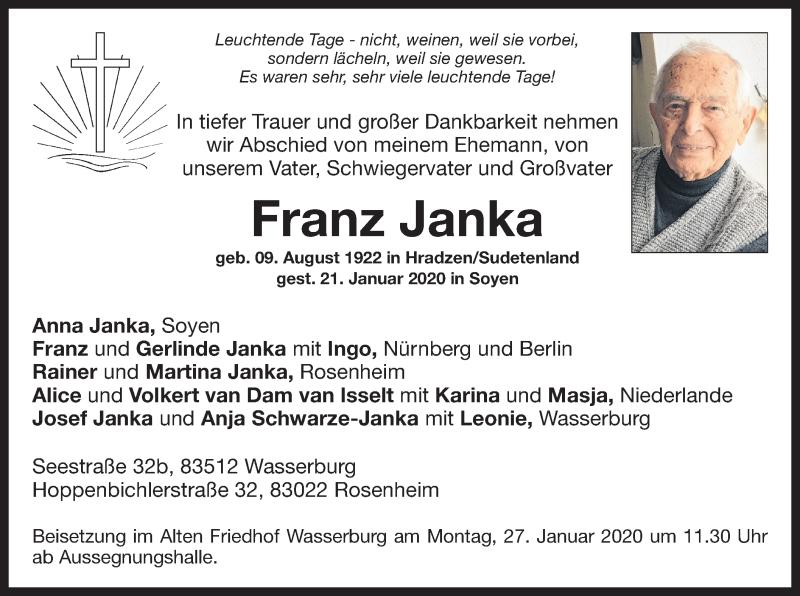 Anzeige von  Franz Janka