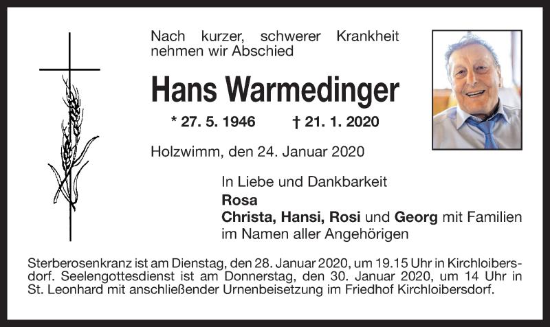 Anzeige von  Hans Warmedinger