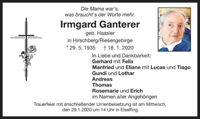 Anzeige von  Irmgard Ganterer