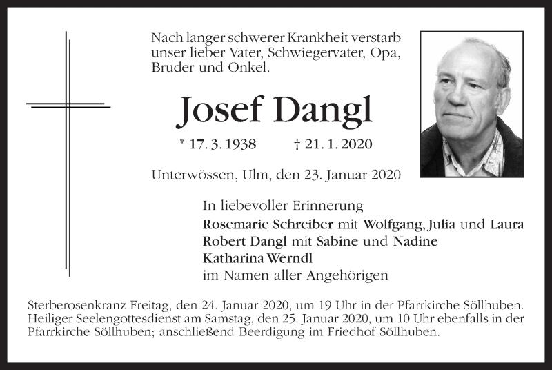 Anzeige von  Josef Dangl