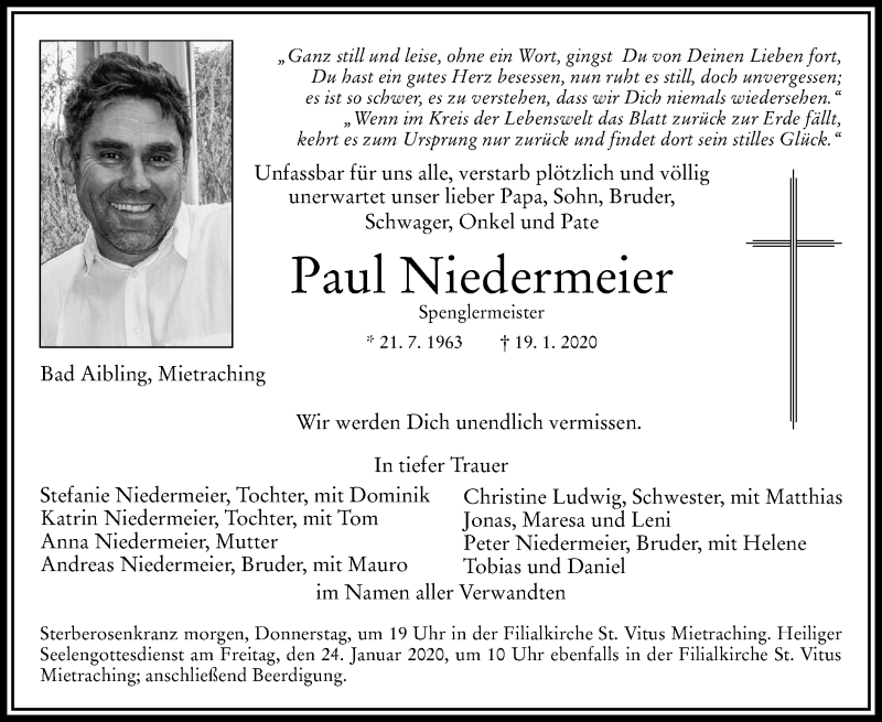 Anzeige von  Paul Niedermeier