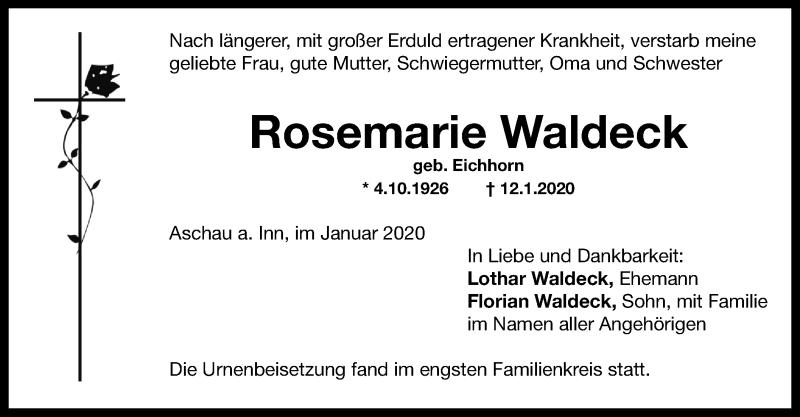 Anzeige von  Rosemarie Waldeck