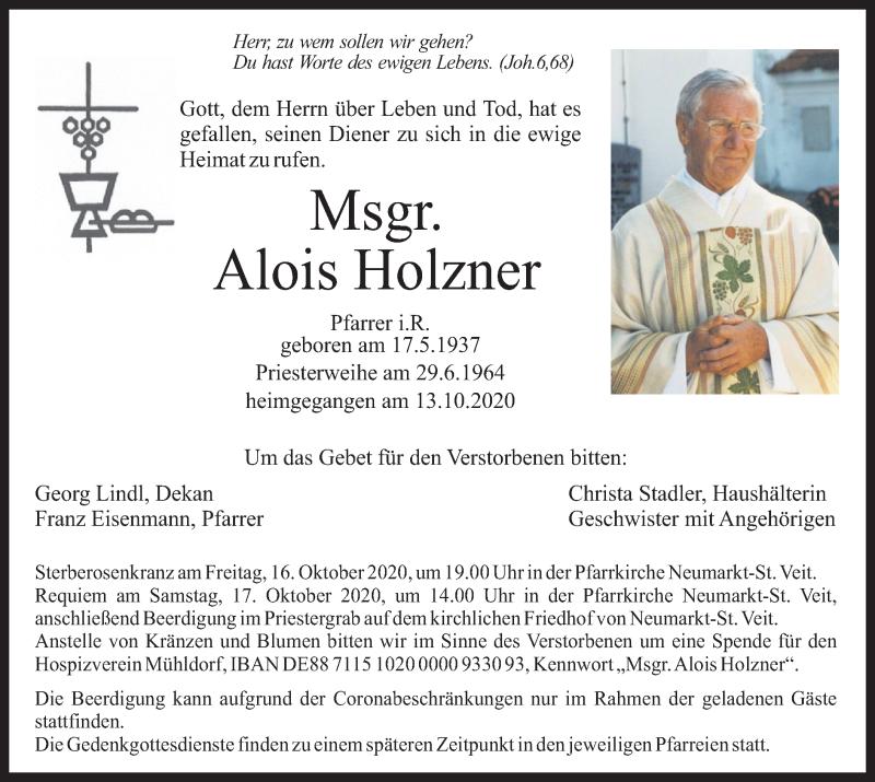 Traueranzeige für Alois Holzner vom 15.10.2020 aus ovb