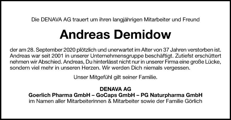 Traueranzeige für Andreas Demidow vom 06.10.2020 aus ovb