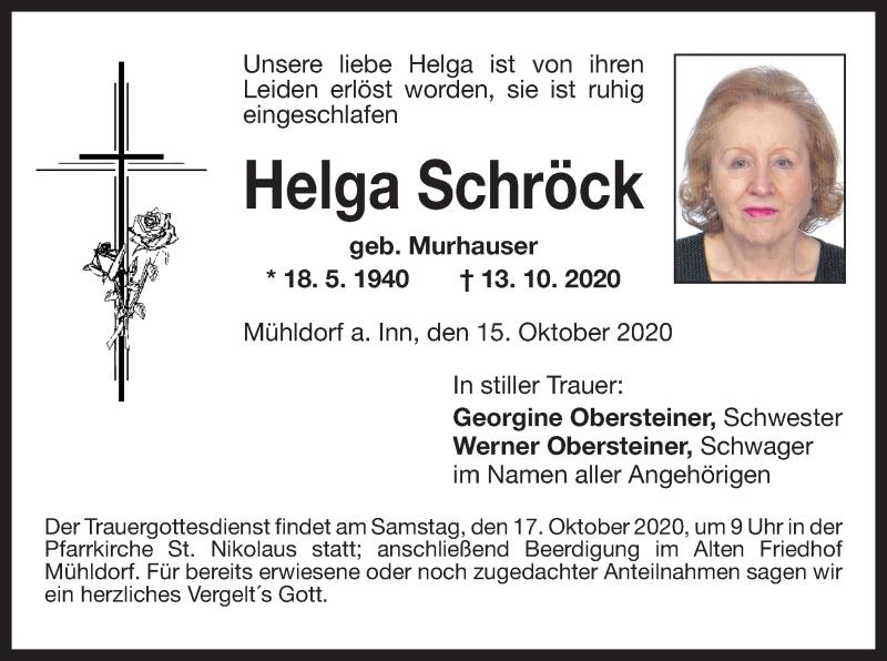 Traueranzeige für Helga Schröck vom 15.10.2020 aus ovb