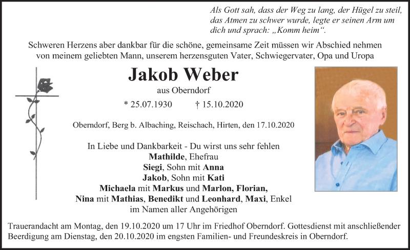 Traueranzeige für Jakob Weber vom 17.10.2020 aus ovb