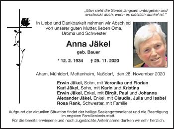 Traueranzeige von Anna Jäkel von ovb