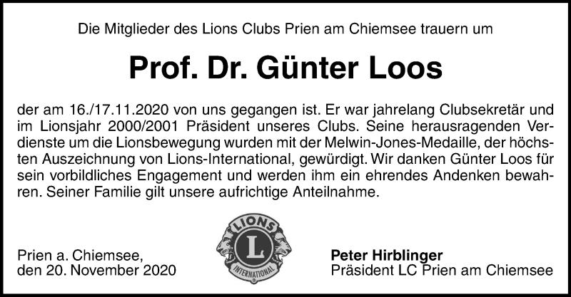 Traueranzeige für Günter Loos vom 21.11.2020 aus ovb