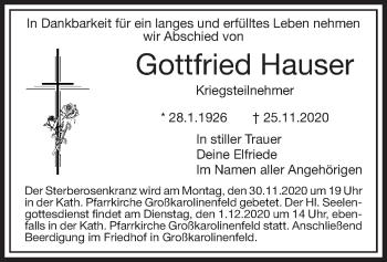Traueranzeige von Gottfried Hauser von ovb