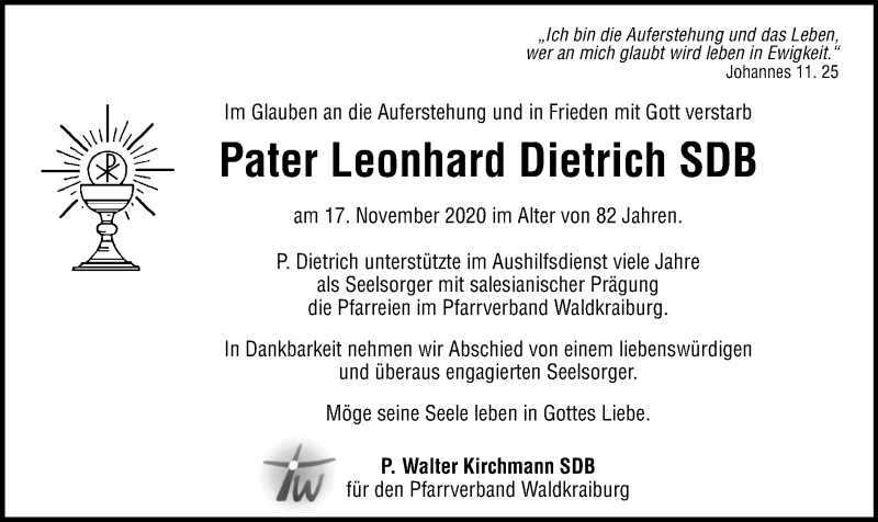 Traueranzeige für Leonhard Dietrich vom 21.11.2020 aus ovb