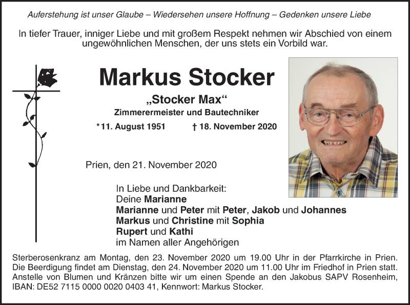 Traueranzeige für Markus Stocker vom 21.11.2020 aus ovb