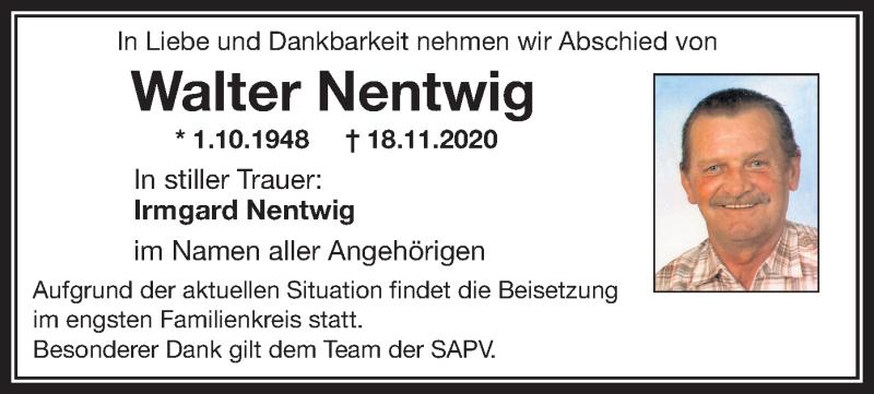 Traueranzeige für Walter Nentwig vom 21.11.2020 aus ovb