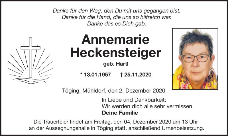 Traueranzeige für Annemarie Heckensteiger vom 02.12.2020 aus ovb